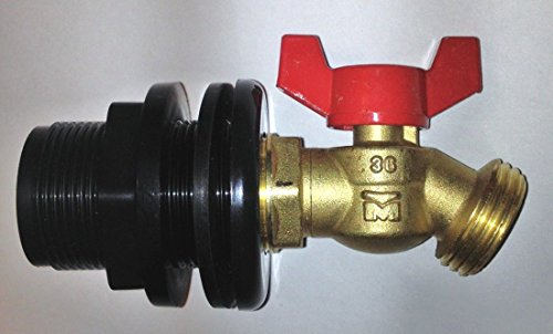 Rain Barrel Faucet Spigot 1/4 Turn BRASS Valve 55 Gallon Water Tank w/ - Garden Elizabeth Outlet