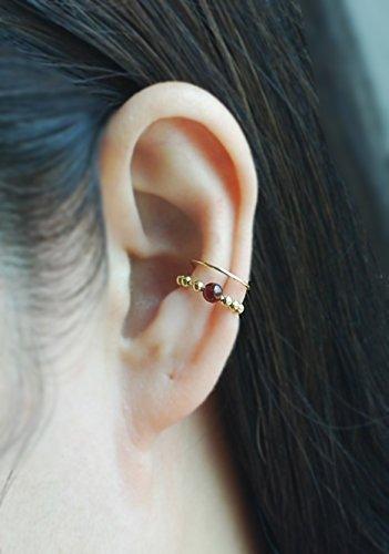 ed Double Band Ear Cuff with Gem stone ,No Piercing Cartilage Ear Cuff, Ear Jacket, Ear Wrap,Fake conch piercing,boho, Price per One Item ()