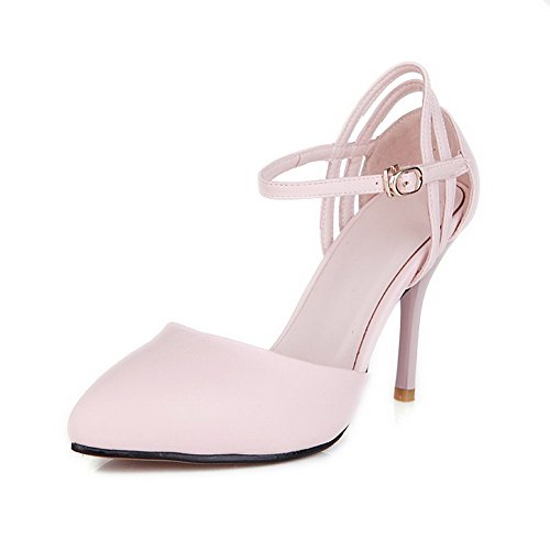 AmoonyFashion Womens Spikes Stilettos Solid Buckle Pointed Closed Toe Pumps Shoes Pink gOSs7