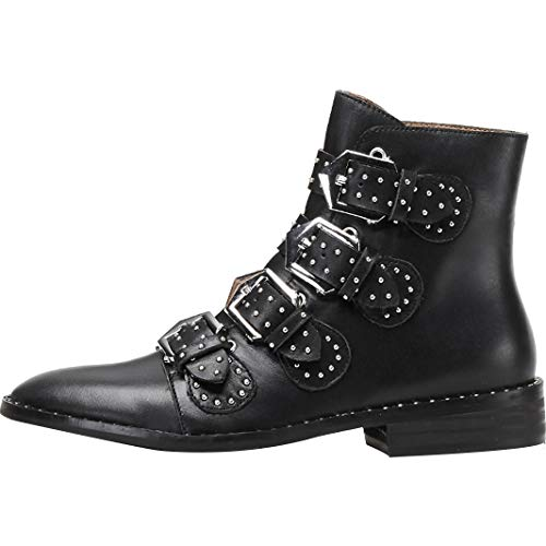 Juavera Low Heel Womens Ankle Buckle Boots Leather cm 3 Black Jushee fgWH5Iqg