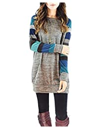 Women's Cotton Knitted Long Sleeve Lightweight Tunic Sweatshirt Tops