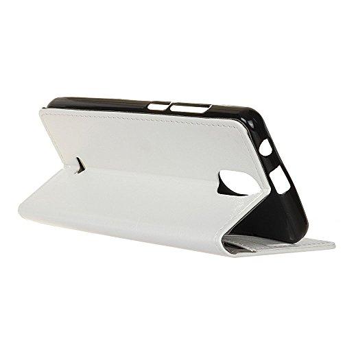 Lusee® PU Caso de cuero sintético Funda para Wiko Kenny 5.0 Pulgada Cubierta con funda de silicona botón caballo Loco patrón negro caballo Loco patrón blanco