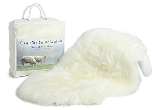 Classic New Zealand Ivory Lambskin Baby Rug, Un-dyed, Soft Natural Length Fleece, Oeko-Tex Certified Safe, 100% Natural Premium Sheepskin, Large Size 34