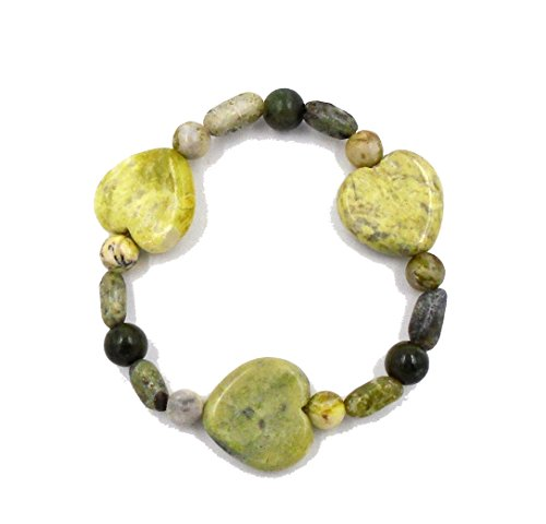Connemara rish Marble: Large Heart Stretch Bracelet, Fits All...