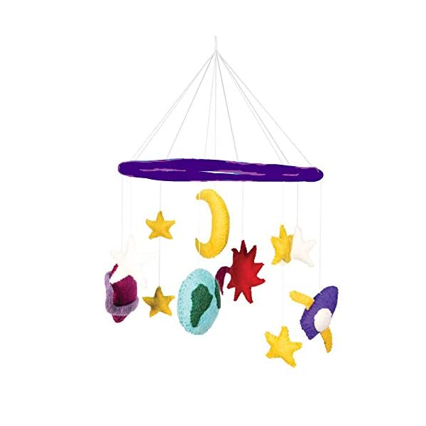 Space Stars Planets Rocket Theme – Hanging Baby Nursery Decor Crib Mobile – Handmade 100% Natural Felted Wool (Purple)