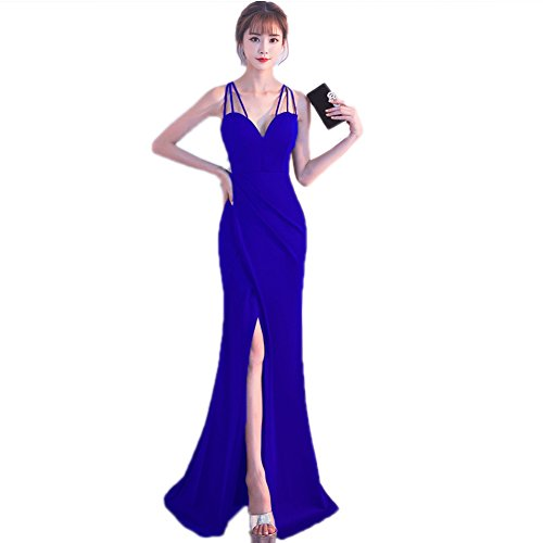 Cotylédons Women`s Robes De Soirée De Mariage Sans Manches Construit En Robe De Bal Soutien-gorge Bleu