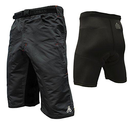 The Enduro - Men's MTB Off Road Cycling Shorts with ClickFast Padded Undershorts with Coolmax Technology (Small, Black) ()