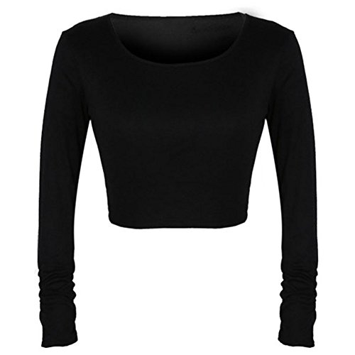 ROPALIA Womens Sexy Cropped Long Sleeve Scoop Neck Tights Short Blouse Black