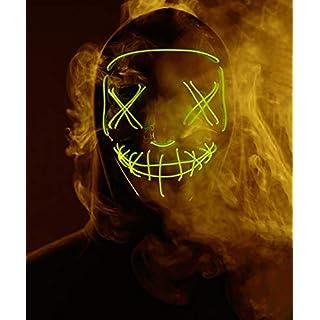 Led Purge Mask - Halloween Led Mask Light Up Mask for Festival Cosplay Halloween Costume (Yellow)
