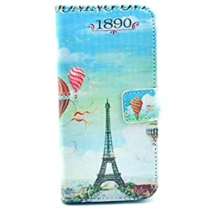 Fashionable Hot Air Balloon Pattern PU Leather Cover with Stand and Card Slot for iPhone 6 Plus Back Case
