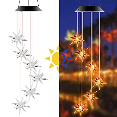 SOONHUA Wind Chimes Outdoor, Solar Wind Chime Star LED Lights Color Changing, Windchimes Unique Outdoor Waterproof,Gifts for Mom,Grandma,Neighbors,Kids,for Garden Patio Home Decoration