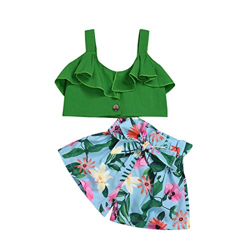 (ToddlerBabyGirlFloral Ruffled Outfits Halter Tank Top+Ruffle ShortsKidsSummerClothes Set (Green, 2-3)
