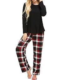 Pajama Set Womens 2 Pcs Cotton Top & Long Plaid Bottoms Sleepwear S-XXL