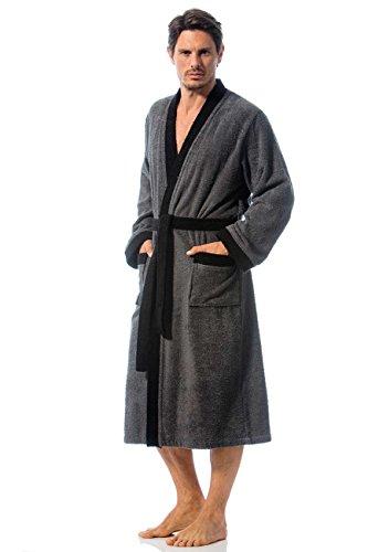 Bademantel mit Kimonokragen, Frottee, Gr. XL, Herren, anthrazit/schwarz, Größen M-XXL verfügbar, Modell Toledo von Morgenstern