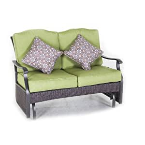 Outdoor Loveseat Glider Bench with 2 Cushions and 2 Decorative Pillows, Seats 2 in Green