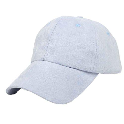 EKIMI Baseball Cap Suede Hip-Hop Outdoors Flat Snapback Hat (Sky Blue) (Valentino Bath)
