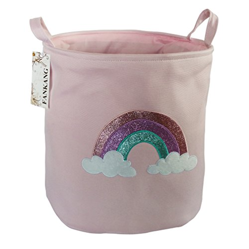 FANKANG Large Sized Gift Baskets Cute Rainbow Pattern Design Laundry Hamper Cotton Fabric Cylindric Storage Bin with Rope Handles, Decorative and Convenient for Kids Bedroom (Pink Rainbow)