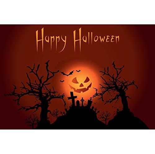 Leyiyi 15x10ft Happy Halloween Backdrops Terrible Moon Grave Cross Video Photo Studio Prop Backdrop Curtain Halloween Decorations]()