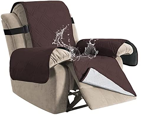 H.VERSAILTEX 100% Waterproof Quilted Recliner Chair Cover Recliner Cover Recliner Slipcover for Living Room, Secure with Elastic Strap and Non Slip Puppy Paw Silicone Backing (Oversized, Brown)