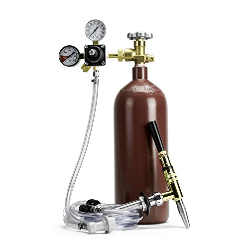 Nitrogen Draft System Faucet For Homebrew Nitro Beer Or Nitro Coffee - Nitrogen Tank With Brass Stout Faucet Fittings & Dual Gauge Nitrogen Regulator - Ball Lock Keg Compatible ()