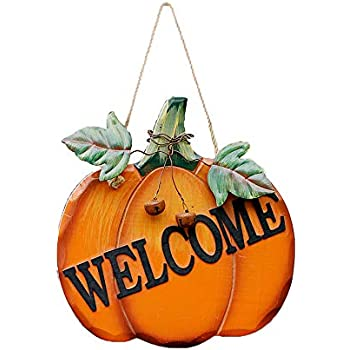 WHY Decor Wood Pumpkin Welcome Sign Hanging Wall Door Decor Welcome Pumpkin Sign Fall Decor for Front Door Wood Harvest Hanging Wall Sign Fall Autumn Halloween Thanksgiving Harvest Decoration