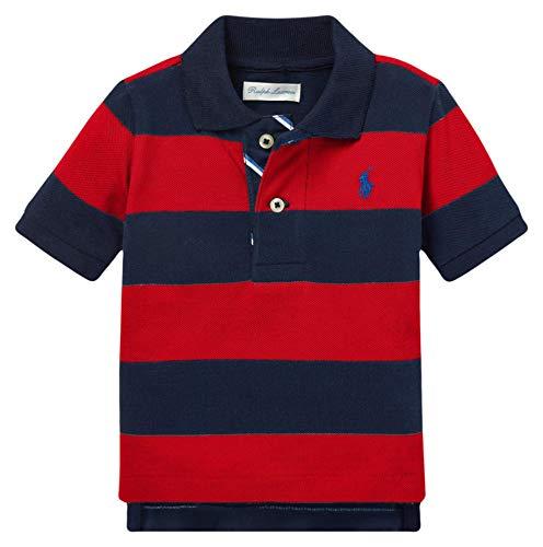 Ralph Lauren Polo Baby Boy's Striped Cotton Mesh Short Sleeve Polo Shirt (RL2000 Red Multi, 9M)