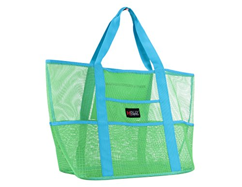 Holly LifePro Mesh Beach Bag Toy Tote Bag Large,Lightweight Market Grocery & Picnic Tote with Oversized Pockets,Inside Zippered Pocket,Carry All Organizer Bag Green,Shoulder Bag for Gym Hiking -