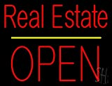 """Real Estate Block Open Yellow Line Neon Sign 24"""" Tall x 31"""" Wide x O"""" Deep"""