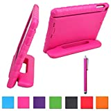 HDE Kid's Heavy Duty Shockproof Foam Handle Case Stand + Matching Stylus for iPad Air (Pink)
