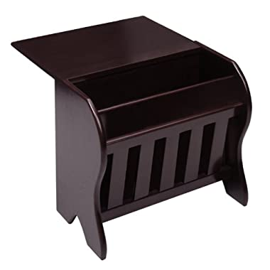 Winsome Wood Magazine Rack with Drop Leaf Table, Dark Espresso Finish