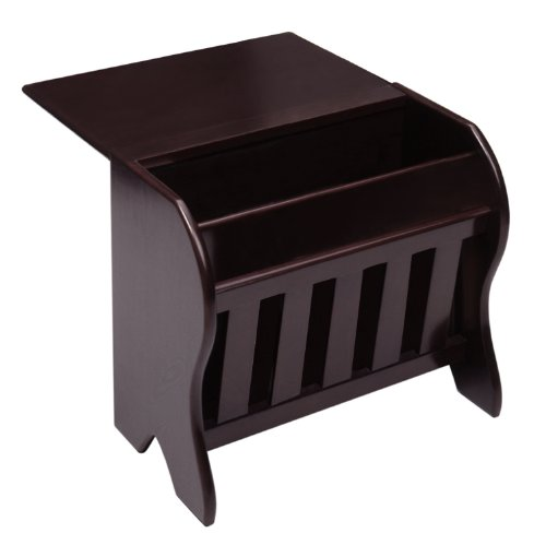 - Winsome Wood Magazine Rack with Drop Leaf Table, Dark Espresso Finish