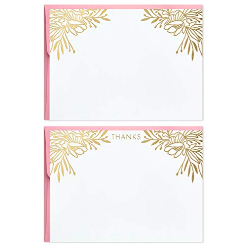 Hallmark Assorted 5STZ5087 Blank and Thank You Cards, Blush and Gold (50 Flat Paneled Note Cards with Envelopes and Card Organizer), SImply Pretty, 5.19 inches ()