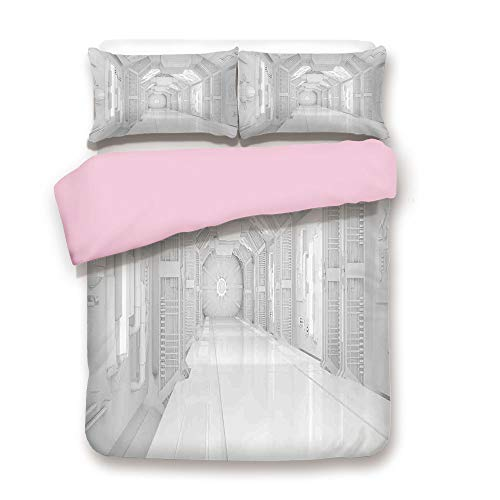 iPrint Pink Duvet Cover Set,Twin Size,Extraterrestrial Construction to Visit Astronomical Bodies Cosmonaut Flight I,Decorative 3 Piece Bedding Set with 2 Pillow Sham,Best Gift for Girls Women,White