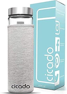 Cicado - Botella de Cristal de 600 ml, Base Reforzada y ...