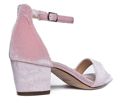 Adams Heel Strap Low Ankle Block J Heel Daisy Pink Kitten Velvet Adorable dFgwnSx