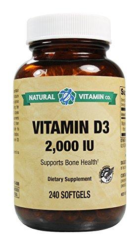 Natural Vitamin Co. - Vitamin D3 2000 IU, 240 Softgels, 8 Month Supply, Gluten Free