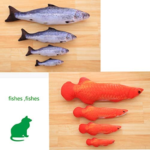 LOVEIFE 4 Pack Cat Catnip Toys, Kitty Fish Toy Pillow Chew Bite Kick Supplies for Pet - Vivid Color, Realistic and Safety 7