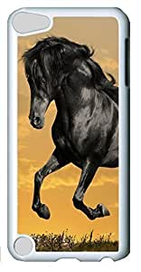 Fashion Customized Case for iPod Touch 5 Generation Cool White Plastic Case Back Cover for iPod Touch 5th with Black Horse Running hjbrhga1544