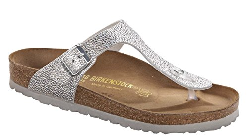Birkenstock Women's Gizeh Sandal Pebbles Metallic Silver Leather Size 36 M EU