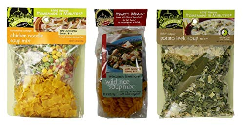 Frontier Soups Natural Gluten Free Soup Mix 3 Flavor Variety Bundle, (1) each: Connecticut Chicken Noodle, Wisconsin Wild Rice, Idaho Potato Leek (3.25-6 Ounces)