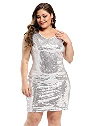 Plus Size V Neck Sleeveless White Cocktail Loose Fit Dress