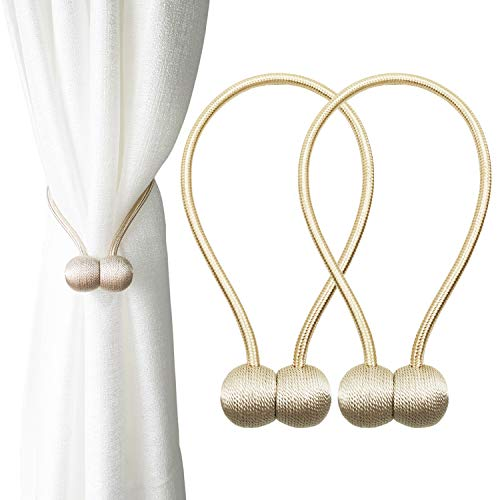 Topspeeder 2 Pack Magnetic Curtain Tiebacks, The Most Convenient Drape Tie Backs,European Style Decorative Weave Rope Curtain Holdbacks Holder for Window Sheer Blackout Drapries Office, 16 inch
