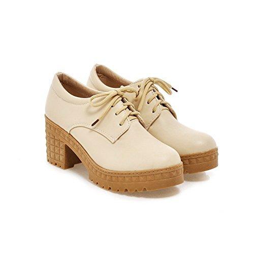 Chunky Heels up Urethane Platform Womens BalaMasa Lace Beige Shoes Flats wqtP4IH6xn