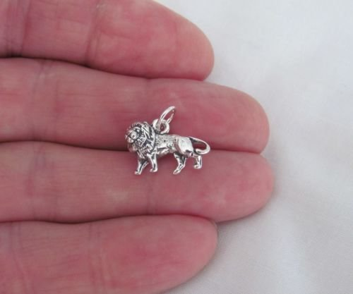 (Sterling Silver 3d lion charmJewelry Making Supply Charm, Bracelets and More by Wholesale Charms)