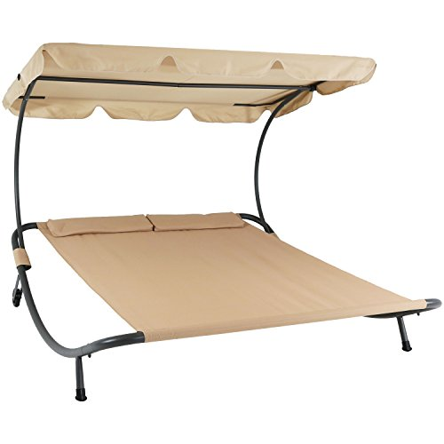 Sunnydaze Double Chaise Outdoor Lounge Bed with Canopy and Headrest Pillow