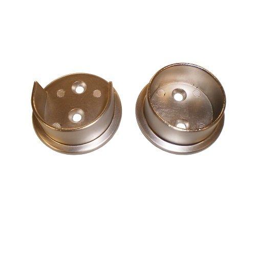 Nuk3y Heavy Duty Metal Steel Closet Pole Socket Set 1-1/2 (Satin Nickel)