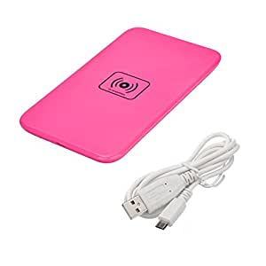 Weksi Wireless Charger Inductive Mobile Phone Charger for Samsung Note3 S3 I9500 S5 Nexus5 Lumia 920 820 HTC M8, etc (Rose Red)