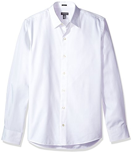 Sateen Stripe Shirt (Van Heusen Men's Slim Sateen Stripe Long Sleeve Shirt, Bright White, Medium)