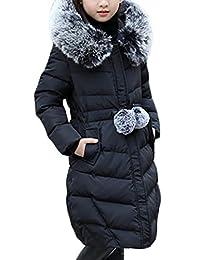 Sweatwater Big Girls' Winter Puffer Faux Fur Hood Long Thick Parka Jackets