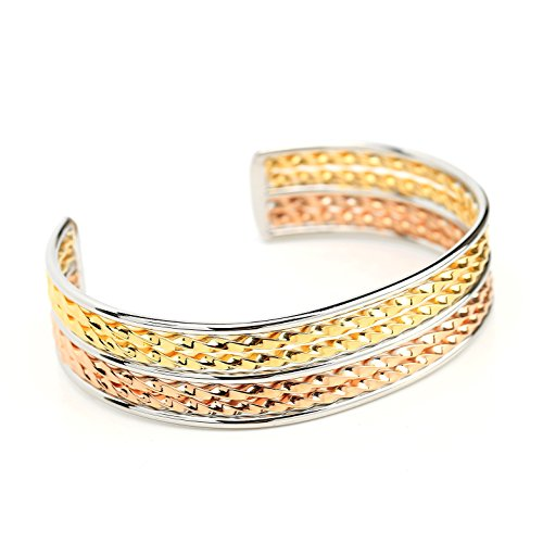 - United Elegance - Contemporary Tri-Color (Rose, Gold & Silver Tone) Twisted Bangle Bracelet Cuff